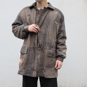 Tyrolean leather switching jacket