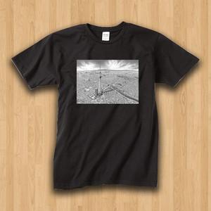 【受注生産】パノラマ「浅草・モノクロ」 メンズ黒Tシャツ