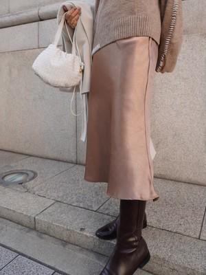 satin long skirt / brown gold (即納)