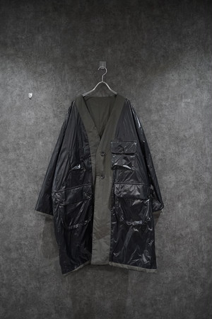 【2021緊急SALE】 my beautiful landlet ripple finish nylon reversible coat  charcoal