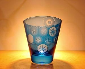 黒光妙作 和柄ガラスコップ ブルー サンドブラスト/Art Selection【1点もの】