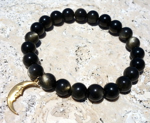 Golden obsidian Grounding support bracelt