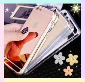 iPhone7 ケース,(6,6S)背面ミラー付きシリコンケース3色セット(シルバー、ゴールド、ピンク)