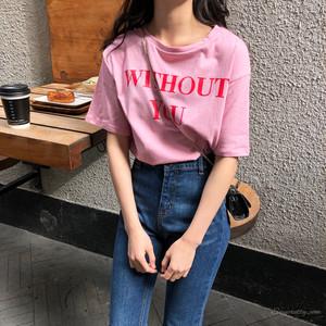 【トップス】簡約アルファベット春夏カジュアルラウンドネック半袖Tシャツ