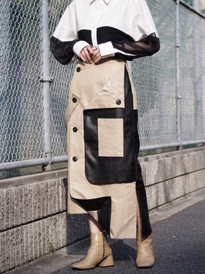 【予約アイテム】disemBySiiK TRENCH WRAP SKIRT beige- leather