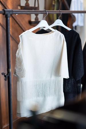 pelleq /   Paper cotton string top    ( snow / midnight )