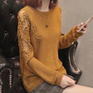 【tops】ニットセーター透かし彫りゆったりファッショントップス
