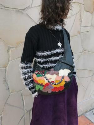 80s black × multi leater patchwork bag ( ヴィンテージ ブラック × レザー マルチカラー パッチワーク バッグ )