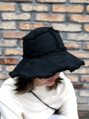 【UNISEX - 1 size】WIDE BRIM HAT / Black
