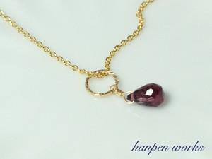 14kgf 1月の誕生石 宝石質 ロードライト ガーネット リング 一粒 ネックレス