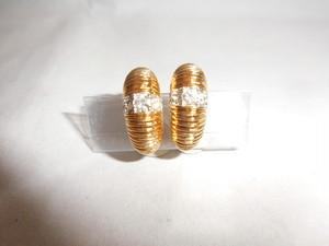 ニナリッチ金色、光石イヤリング(ビンテージ) vintage earrings (made in France)