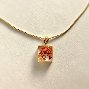 和風 ゴールドネックレス 扇子と金 Japanese style gold plated necklace Folding fan and gold