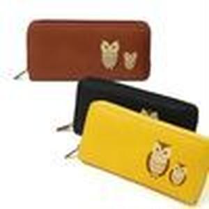 【福財布】かわいいふくろう刺繍入り長財布 ラウンドファスナー キャメル1個