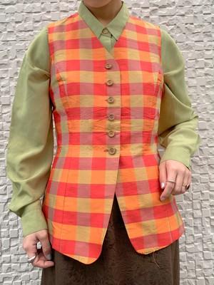 (TOYO) check pattern vest