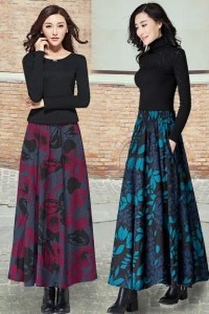新作♪秋色マキシスカート サイズ豊富♥ レディース  花柄 ボタニカル Aライン フレア