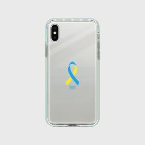 iPhoneX ミラーケース シルバー ダウン症候群アウェアネスリボンデザイン