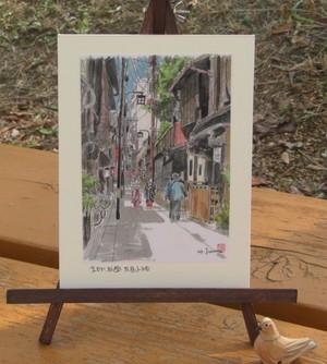「水彩画ミニアート」京都 祇園花見小路