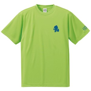 ワンポイントキャラクターTシャツ(ライムグリーン×藍色)