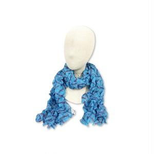 シルク 「クラッシュスカーフ 」 ブルー
