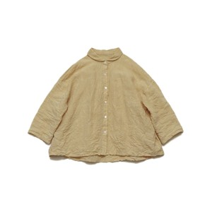 リネン*小さな丸襟シャツ*たまご色