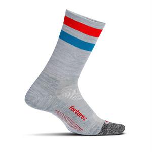 Feetures|ELITE LIGHT CUSHION MINI CREW - 22 Gray High Top Stripe