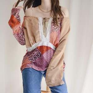 patchwork design flare sleeve off shoulder tops