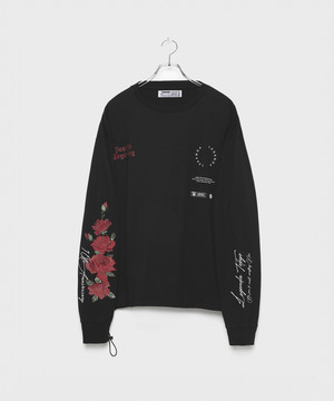 10th Special 3D Rose Embroidery Longsleeve T-shirt [Black]