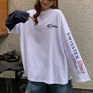 【トップス】カジュアル原宿プリントラウンドネックアルファベット配色Tシャツ26282379