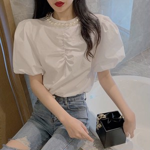 neck pearl blouse