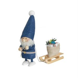 そりを引いた青い服のサンタ/NORDIKA nisse/デンマーク