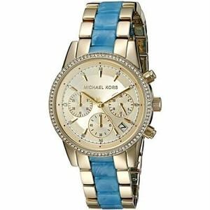 Michael Kors マイケルコース RITZ リッツ レディース 腕時計 MK6328 クロノグラフ イエローゴールド/イエローゴールド×ブルー