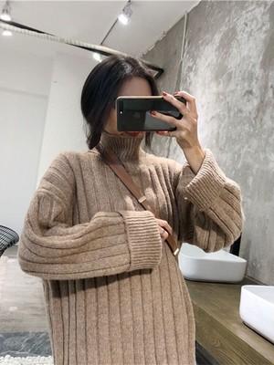 〈カフェシリーズ〉ハイネックフェアリーニットワンピ【high neck fairy knit one-piece】