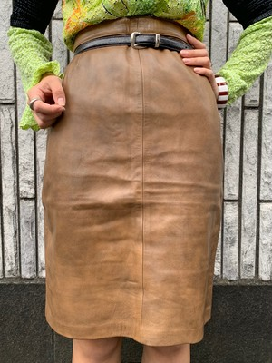 (TOYO) fake leather tight skirt