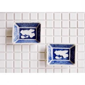 【瀬戸豆皿】ひょうたん柄 松柄  長方形 磁器 2個セット アンティーク ハンドメイド