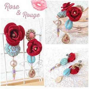 薔薇とルージュのアシメピアス
