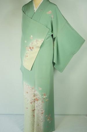 未使用 さが美謹製 友禅 訪問着 一つ紋 花柄 雪輪 金彩 正絹 薄緑 268