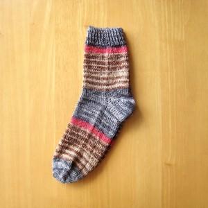 受注製作 毛糸ソックス/グレー・ブラウン