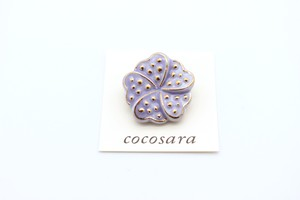 有田焼ブローチ flower 薄紫
