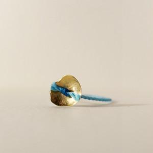 18金ゴールドリング:フラワー(M)Blue/10号