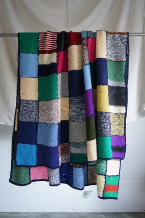 <SOLD OUT>Hand Knit 96 Square's Patchwork Blanket 1980's (dead stock) - Norweigan Vintage