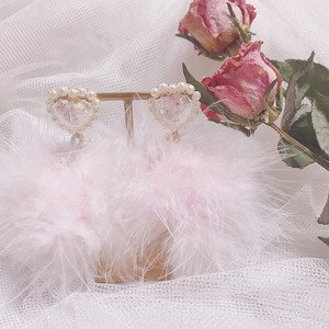 heart pink fur (pierce/earring)