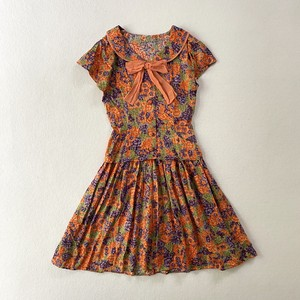 cotton flower textile ribbontie dress (V5069A)