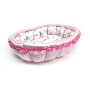 ふーじこちゃんママ手作り ぽんぽんベッド(サテンライトピンク・うさぎさ気球柄)Mサイズ