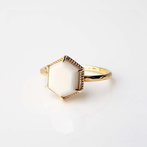 White Chalcedony Ring  (R266-WC Hexagon)