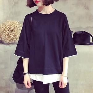 【トップス】夏シンプルの切り替えし半袖シャツフェイクレイヤードラウンドネックTシャツ
