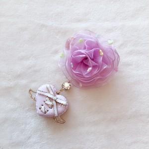【Angel ♡love】ミニハートラッピングマカロン×シュガーハートトッピングシフォン薔薇ヘアクリップ(紫)(左用)a2211008
