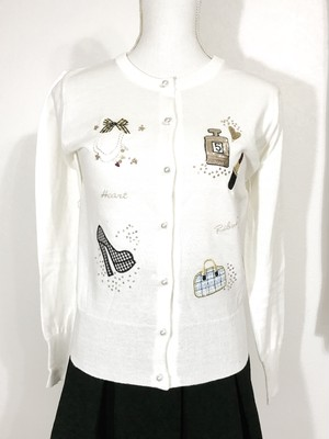 再入荷★ネックレスパンプスバッグ刺繍カーディガン ホワイト