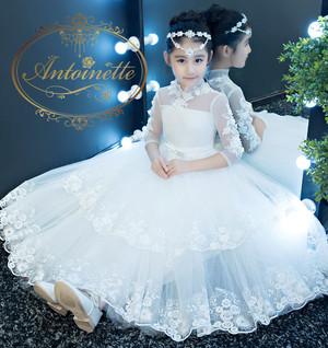 white kids dress party dres  誕生日 発表会 ロングドレス 子供用 キッズ