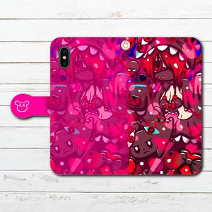 #070-015 iPhoneケース スマホケース 手帳型 全機種対応 ゆめかわいい 女の子 イラスト Galaxy ギャラクシー ケース タイトル:ブラック★キャット 作:プラネ