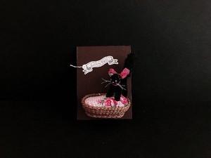 Collette Blanc ④ネコカゴset(黒猫×花柄クッション)